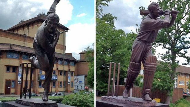 Woking Bedser cricketer statues unveiled by Sir John Major
