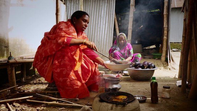 A Bangladeshi woman cooking genetically-modified aubergine