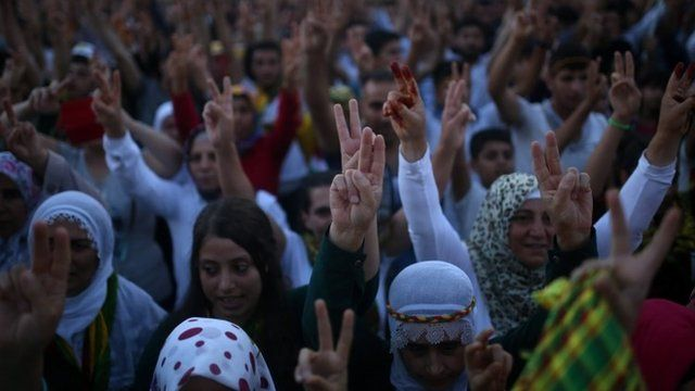 Supporters of pro-Kurdish Peoples's Democracy Party celebrate in Diyarbakir, south-eastern Turkey