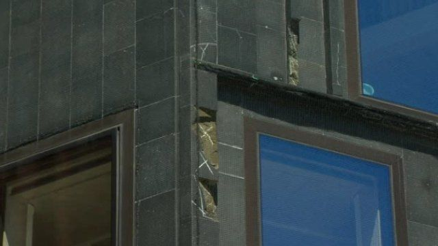 The cracks have started to appear in the building's external stonework, as Robbie Meredith reports