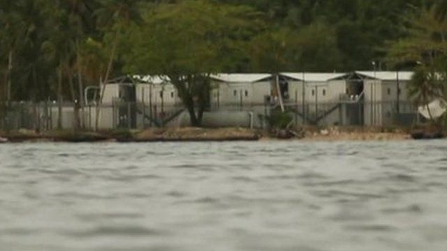 View from the sea of asylum seekers detention camp in Manus province, Papua New Guinea