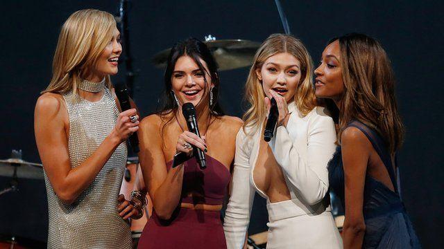 US model Karlie Kloss, US model Kendall Jenner, US model Gigi Hadid and British model Jourdan Dunn