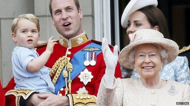 Prince George and Prince William, the Duchess of Cambridge, and the Queen