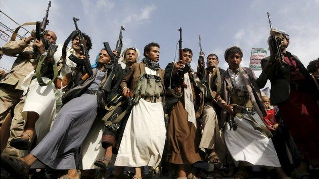 Armed Houthi supporters in Sanaa