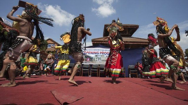 Dancers mark the opening of Durbar Square, Bhaktapur