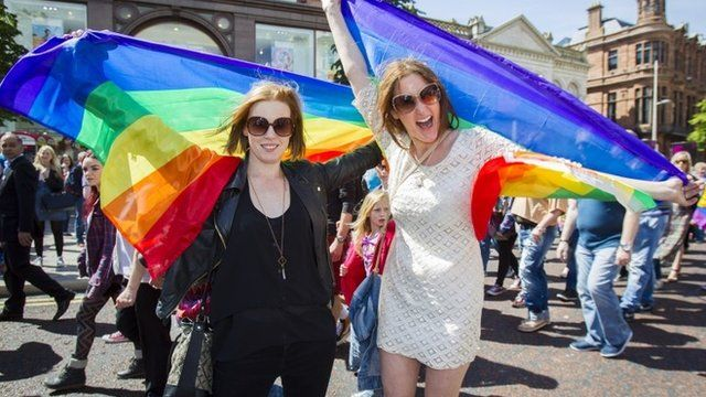 Northern Irish actresses Niamh McGrady and Bronagh Waugh (right) attend a rally in Belfast to show their support for marriage equality on Saturday 13 June 2015