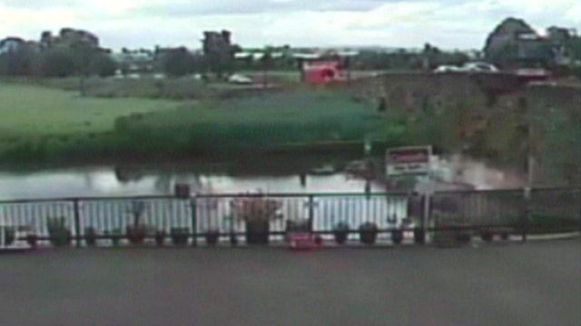 Tractor crashes into bridge in Bidford-on-Avon, Warwickshire