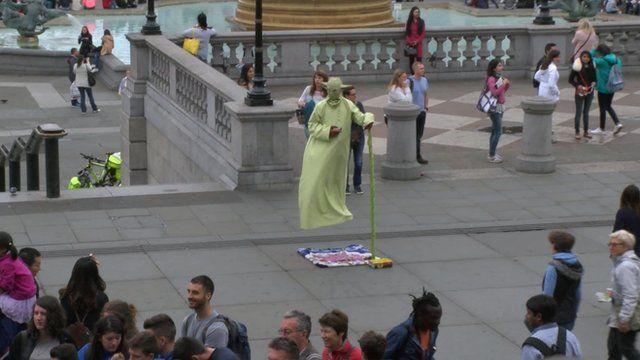 Yoda impersonator in Trafalgar Square