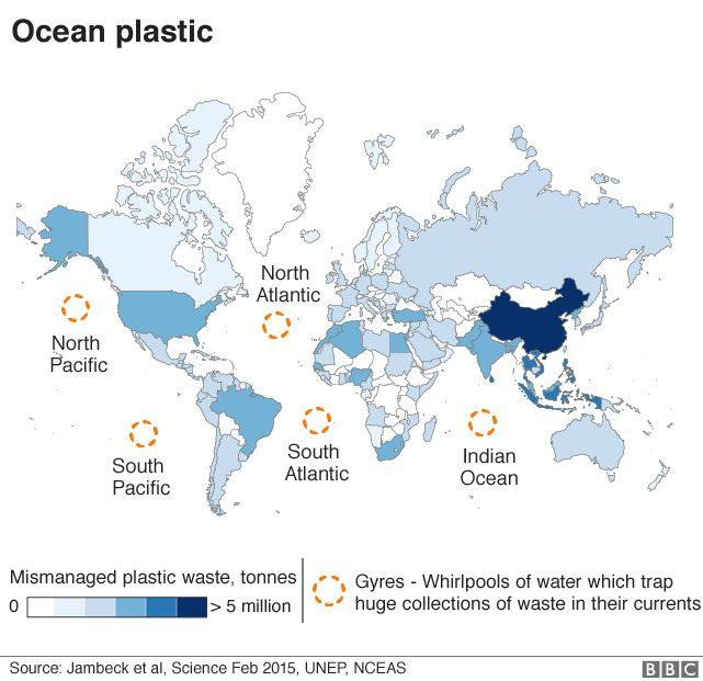 Map: plastic in the seas