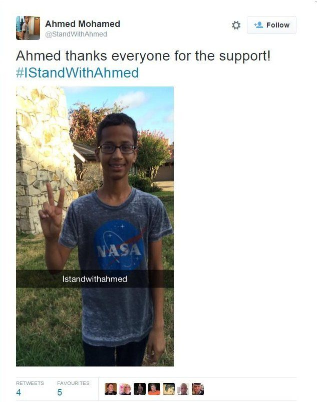 "@StandWithAhmed tweet reads: ""thanks everyone for the support! #IStandWithAhmed"""
