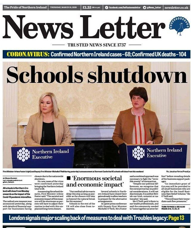 News Letter front page on Thursday