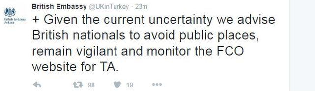 British Embassy tweet