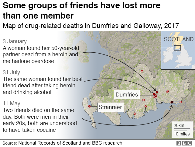 Map showing links between drug-related deaths in 2017
