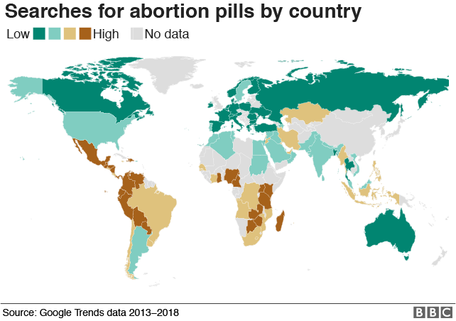 Map: Searches for abortion pills by country