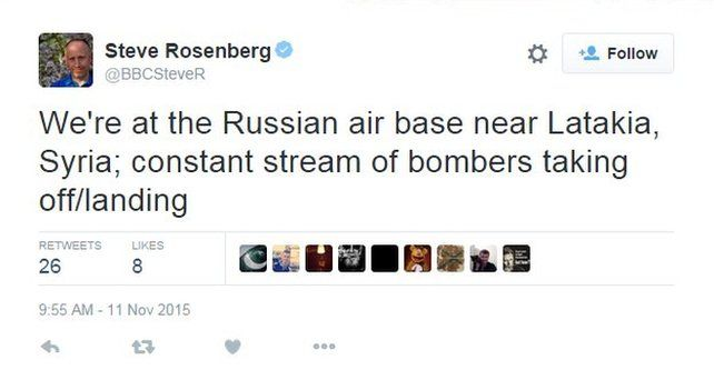 "The BBC's Steve Rosenberg tweets: ""We're at the Russian air base near Latakia, Syria; constant stream of bombers taking off/landing"""