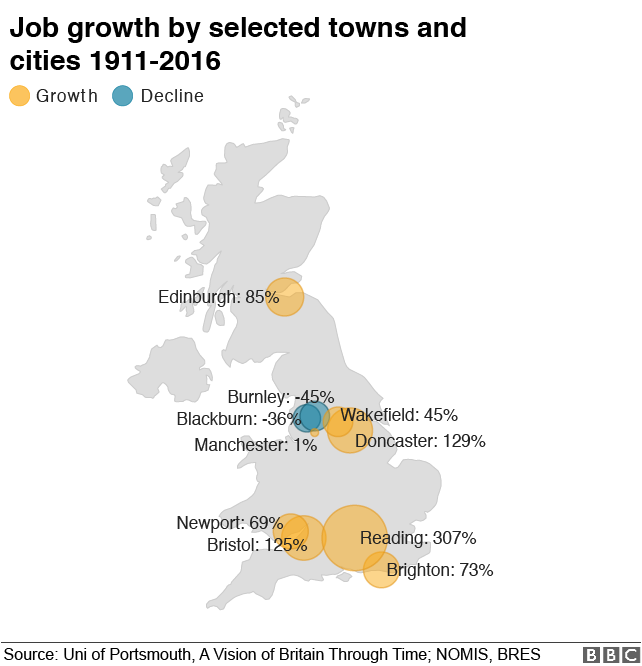 Map of jobs growth across selected towns and cities