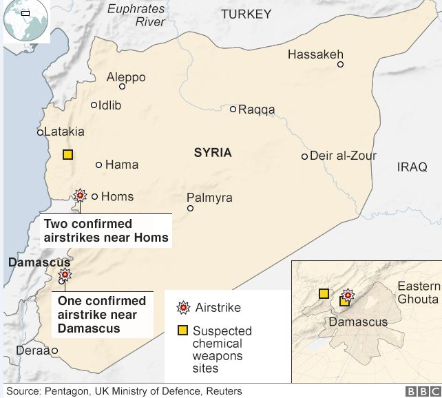 Map of suspected air strike targets in Syria
