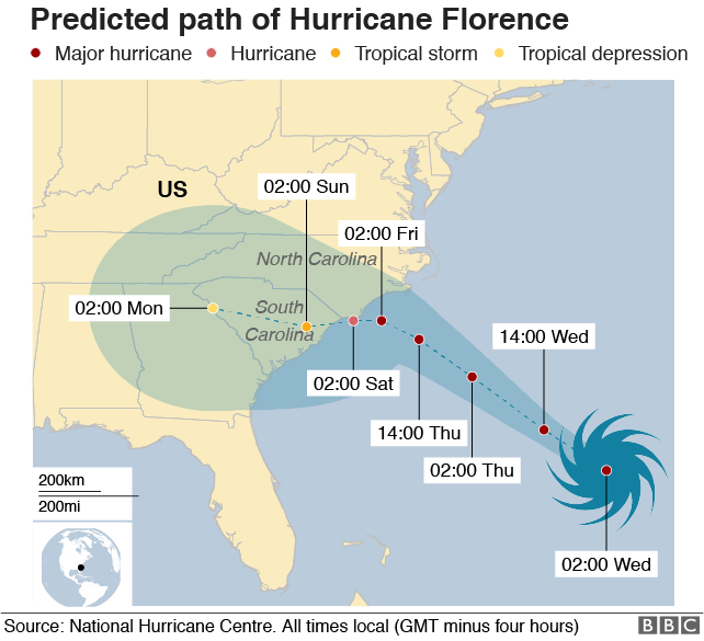Map showing the predicted path of Hurricane Florence