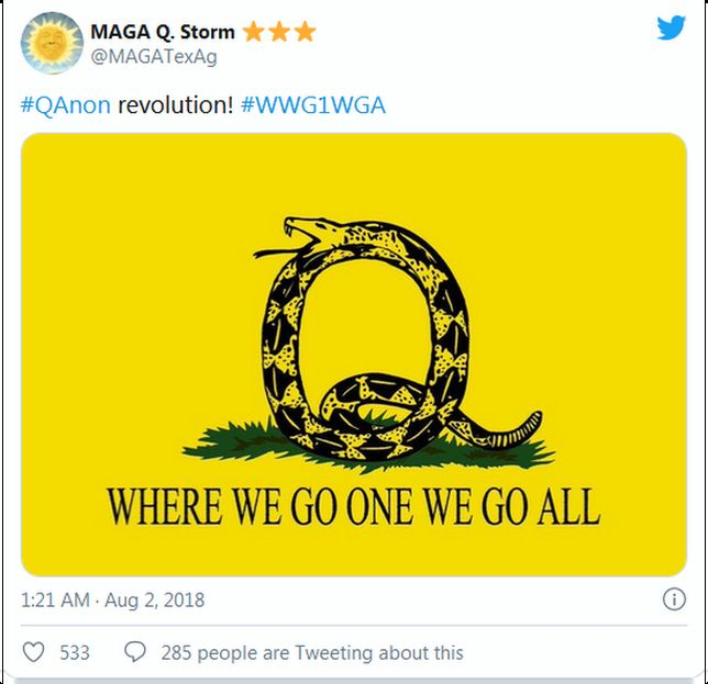a tweet with a QAnon snake