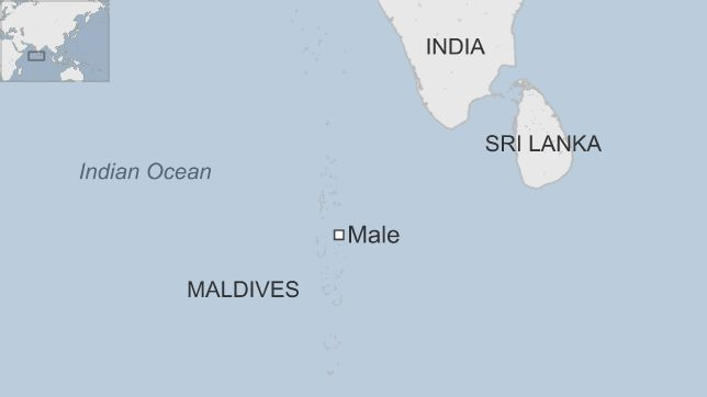 Map showing the location of the Maldives