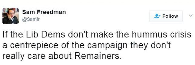 """Tweet: """"If the Lib Dems don't make the hummus crisis a centrepiece of the campaign they don't really care about Remainers."""""""