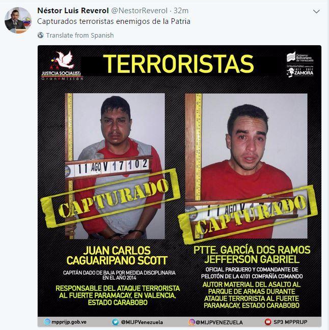 Gobierno de Venezuela anuncia la captura de Juan Caguaripano Scott y Yefferson García Dos Ramos, líderes del asalto al fuerte militar de Paramacay