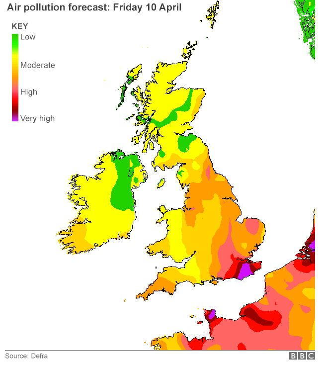 Map of UK air pollution forecast - Friday 10 April