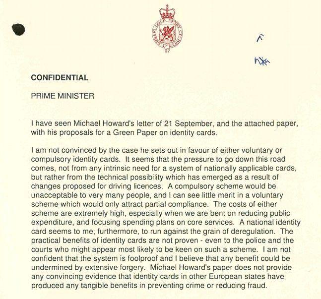 A section of a letter John Redwood sent to John Major