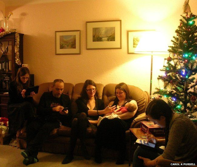 Family in their living room