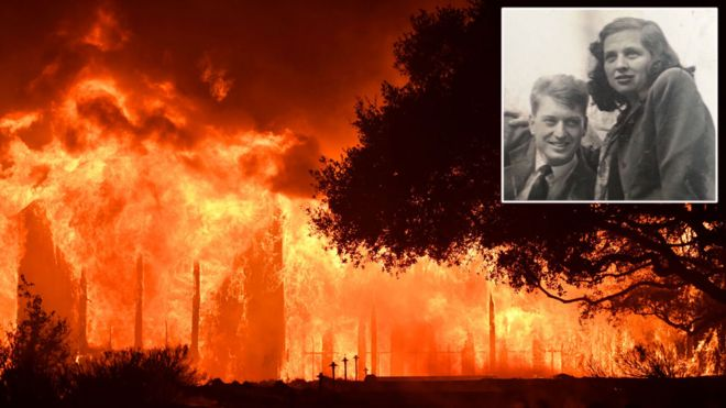 Charles and Sara Rippey (inset) and one of the wildfires in Napa Valley