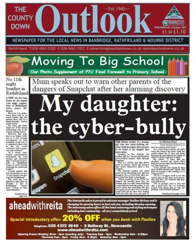 Weekly newspapers: Cyber-bullying and war memorial plan
