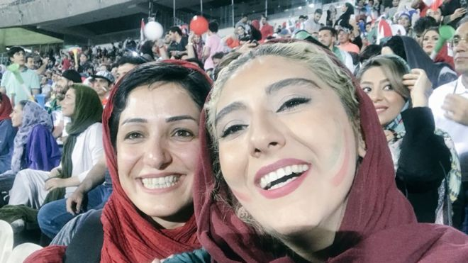 Women posted selfies from inside the Azadi stadium on Wednesday as they watched Iran play Spain in the 2018 World Cup