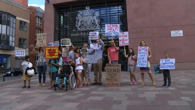 Protest against cuts held outside Bristol High Court on 24 July 2018