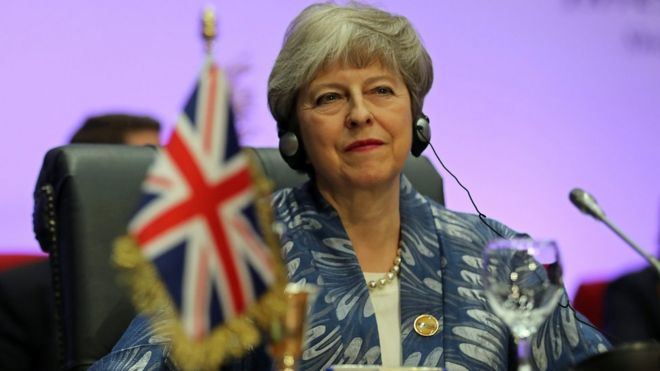 Theresa May at attends Arab league and EU summit, in Sharm el-Sheikh