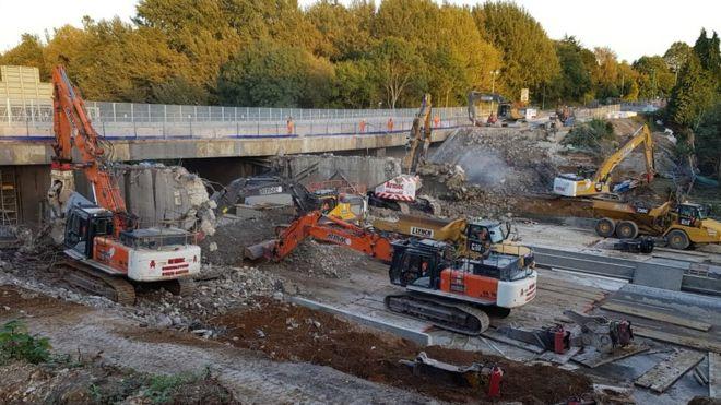M27 bridge demolition in Sept 2018