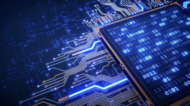 Ilustração mostra combinações binárias e conexões no interior de um chip
