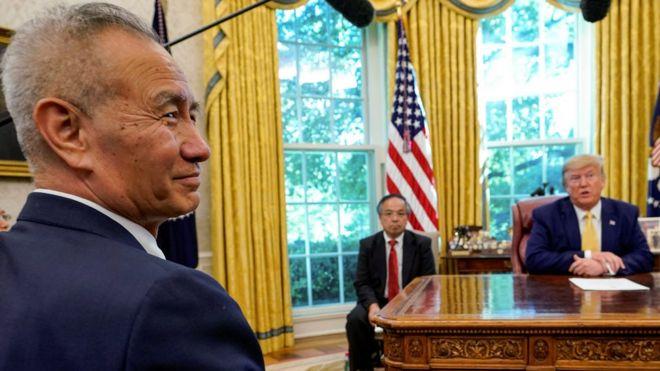 特朗普和刘鹤在白宫见面