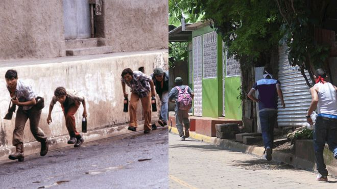 Sandinistas run along a wall in 1978/ Masked young men run along a front of houses in 2018