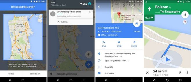 Google Maps gets offline search and directions - BBC News on