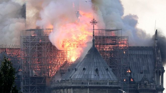 Flames on the roof of the Notre-Dame cathedral in Paris, France, 15 April 2019