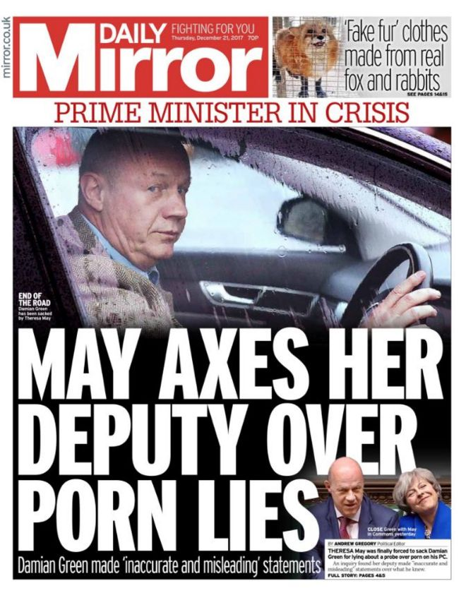Daily Mirror front page 21/12/2017