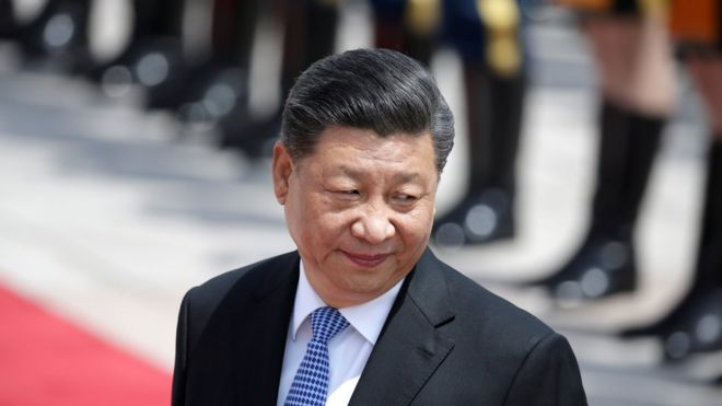 Chinese President Xi Jinping attends a welcoming ceremony for Greek President Prokopis Pavlopoulos outside the Great Hall of the People, in Beijing