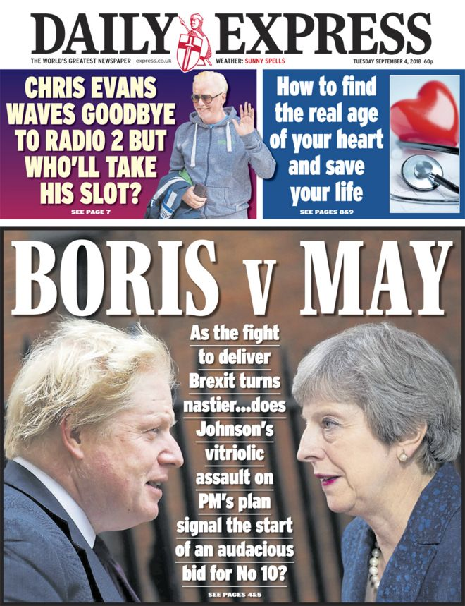Daily Express front page - 04/09/18