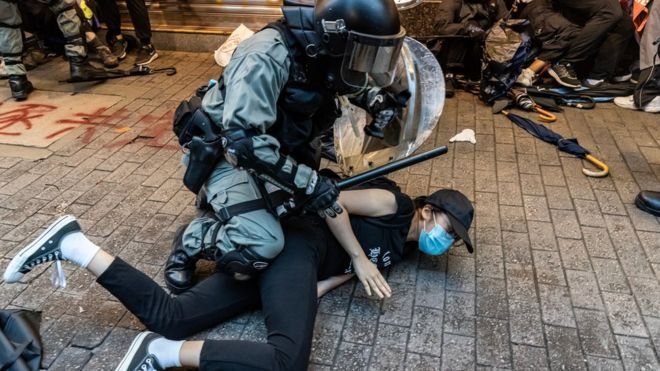 Pro-democracy protesters arrested by police during a clash at a demonstration in Wan Chai district on October 6, 2019 in Hong Kong, China.