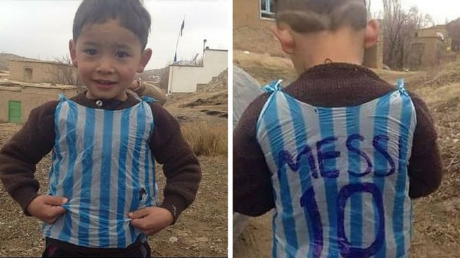 a710ccf59 Is this the boy in the Messi bag shirt photo  - BBC News