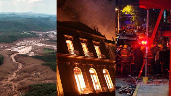 Montagem com fotos de tragédia em Mariana, incêndio no Museu Nacional e incêndio na Boate Kiss