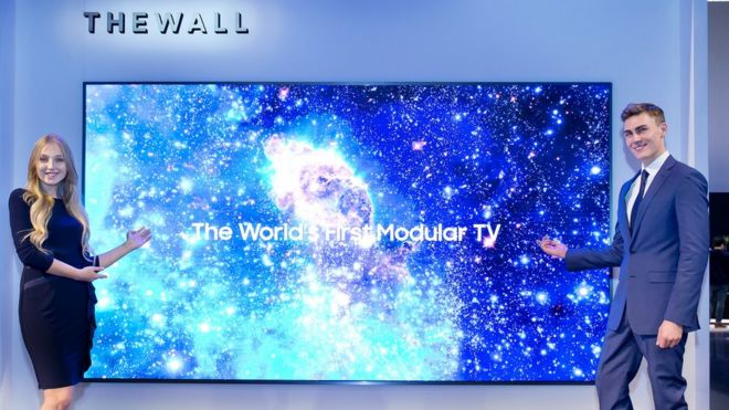 Ces 2018 Samsung Launches Modular Tv Called The Wall Bbc News