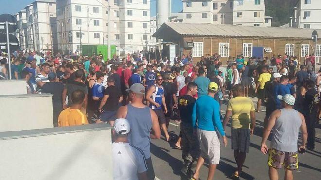 Agentes da Força Nacional protestaram contra condições de trabalho