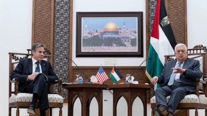 وزير الخارجية الأمريكي ورئيس السلطة الفلسطينية