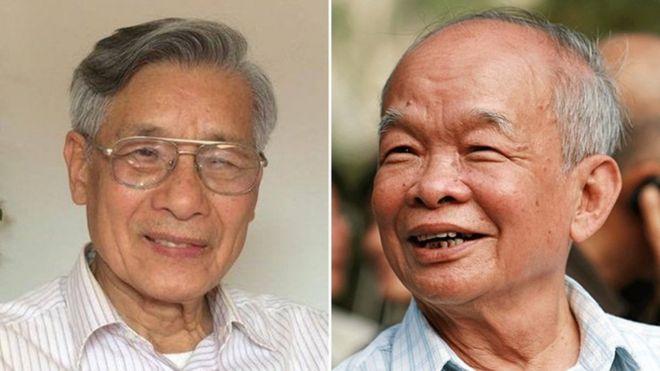 PGS.TS. Mạc Văn Trang (trái) và nhà văn Nguyên Ngọc